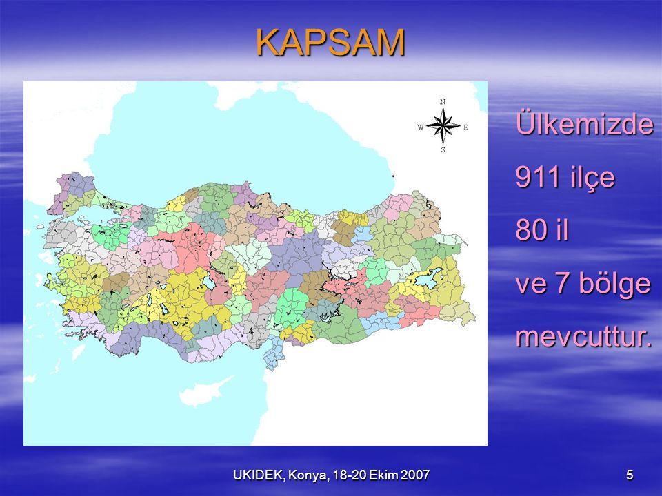 UKIDEK, Konya, 18-20 Ekim 20075 KAPSAM Ülkemizde 911 ilçe 80 il ve 7 bölge mevcuttur.