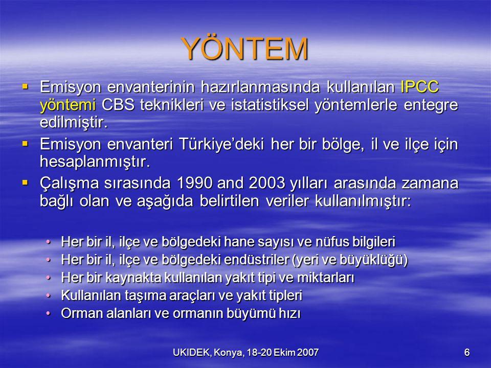 UKIDEK, Konya, 18-20 Ekim 20076 YÖNTEM  Emisyon envanterinin hazırlanmasında kullanılan IPCC yöntemi CBS teknikleri ve istatistiksel yöntemlerle entegre edilmiştir.
