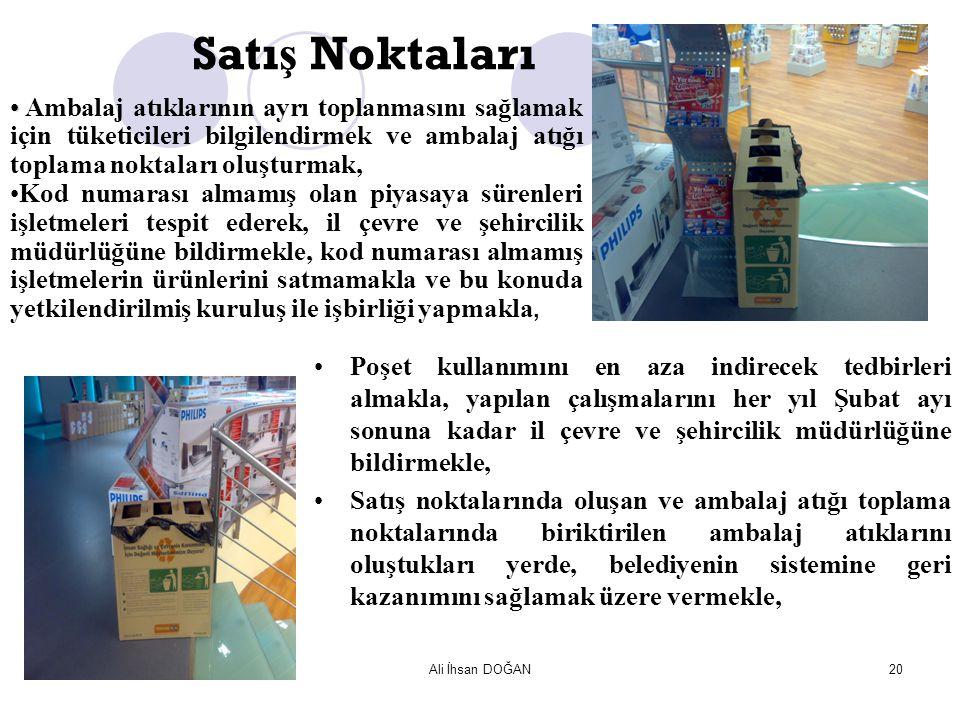 Ali İhsan DOĞAN20 Satı ş Noktaları Ambalaj atıklarının ayrı toplanmasını sağlamak için tüketicileri bilgilendirmek ve ambalaj atığı toplama noktaları