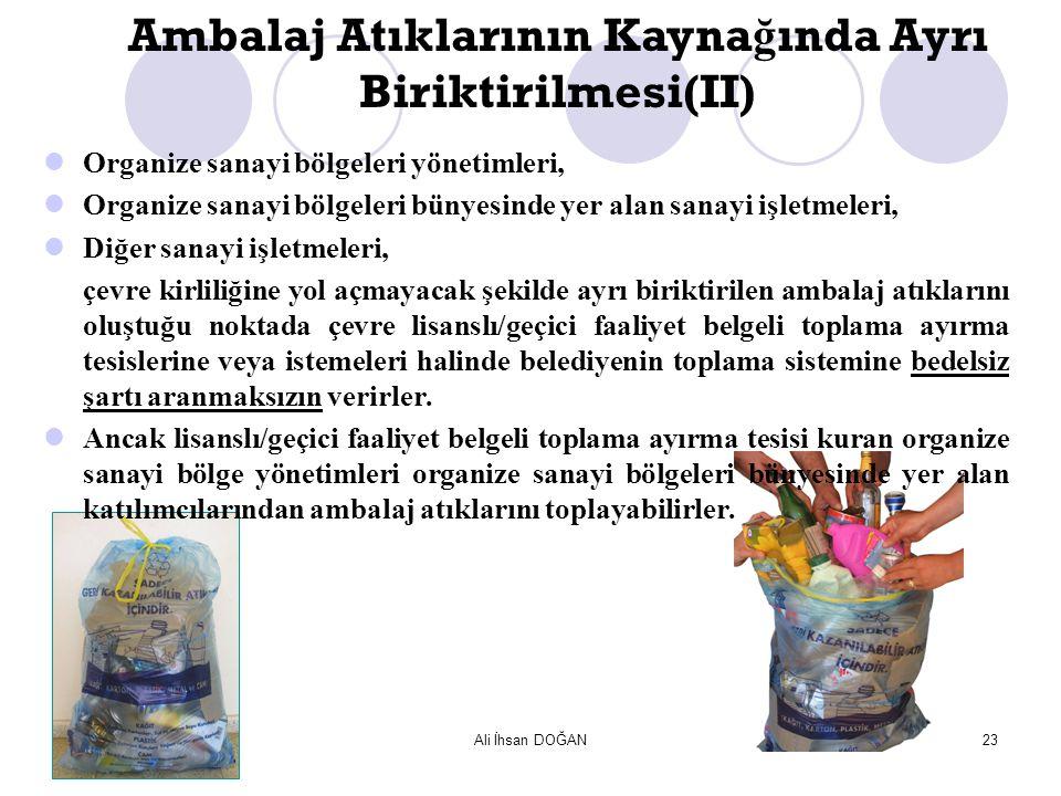 Ali İhsan DOĞAN23 Organize sanayi bölgeleri yönetimleri, Organize sanayi bölgeleri bünyesinde yer alan sanayi işletmeleri, Diğer sanayi işletmeleri, ç