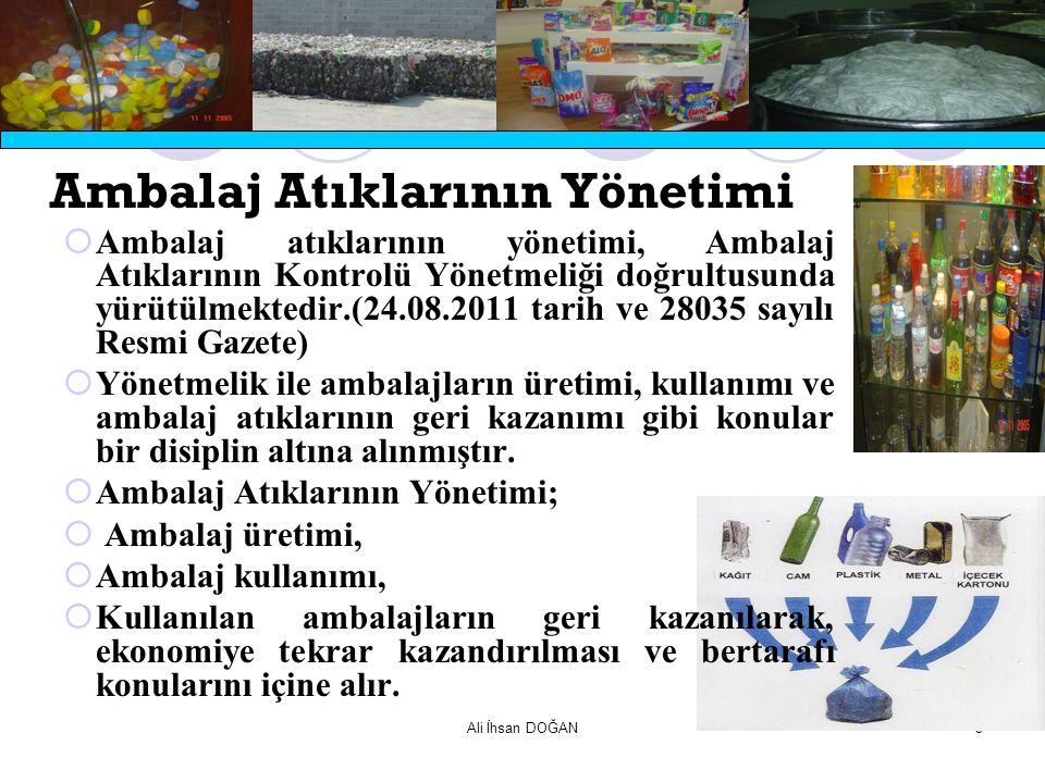 Ali İhsan DOĞAN3 Ambalaj Atıklarının Yönetimi  Ambalaj atıklarının yönetimi, Ambalaj Atıklarının Kontrolü Yönetmeliği doğrultusunda yürütülmektedir.(