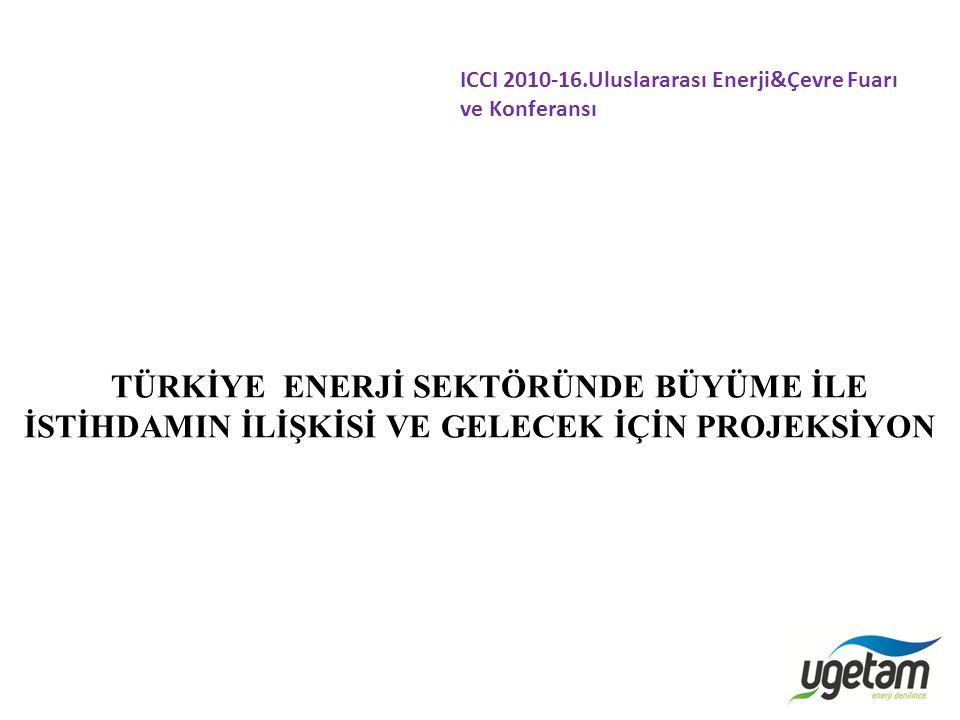 TÜRKİYE ENERJİ SEKTÖRÜNDE BÜYÜME İLE İSTİHDAMIN İLİŞKİSİ VE GELECEK İÇİN PROJEKSİYON ICCI 2010-16.Uluslararası Enerji&Çevre Fuarı ve Konferansı