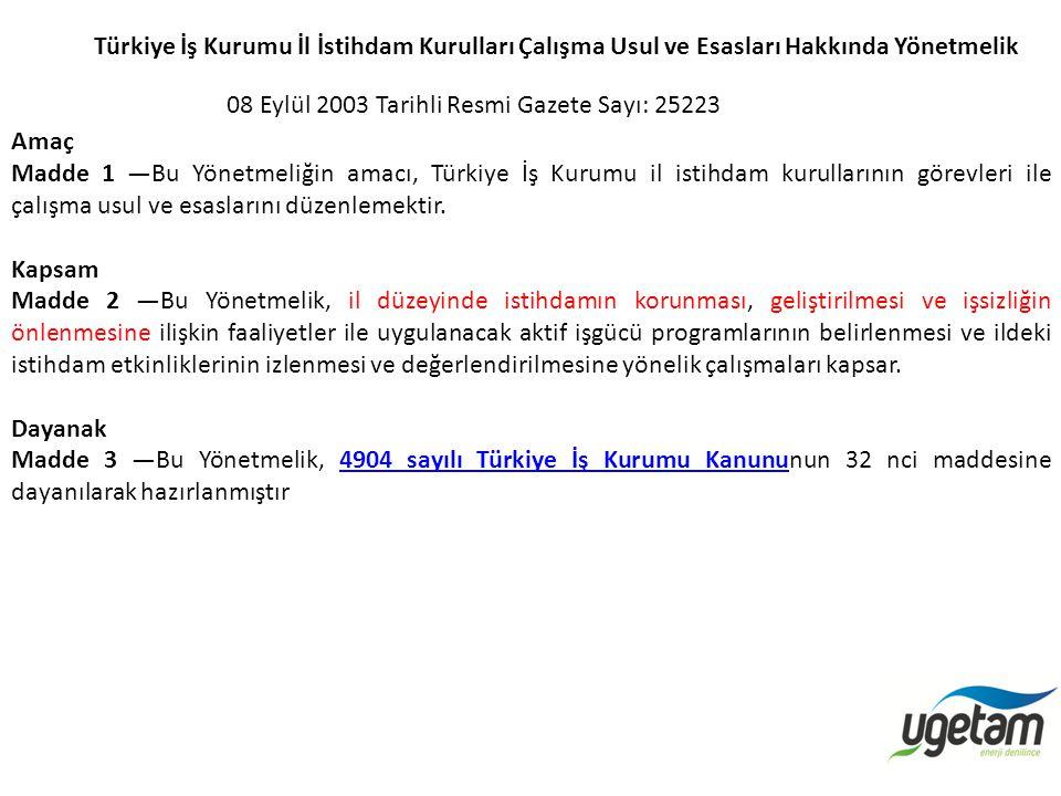 Türkiye İş Kurumu İl İstihdam Kurulları Çalışma Usul ve Esasları Hakkında Yönetmelik 08 Eylül 2003 Tarihli Resmi Gazete Sayı: 25223 Amaç Madde 1 —Bu Y