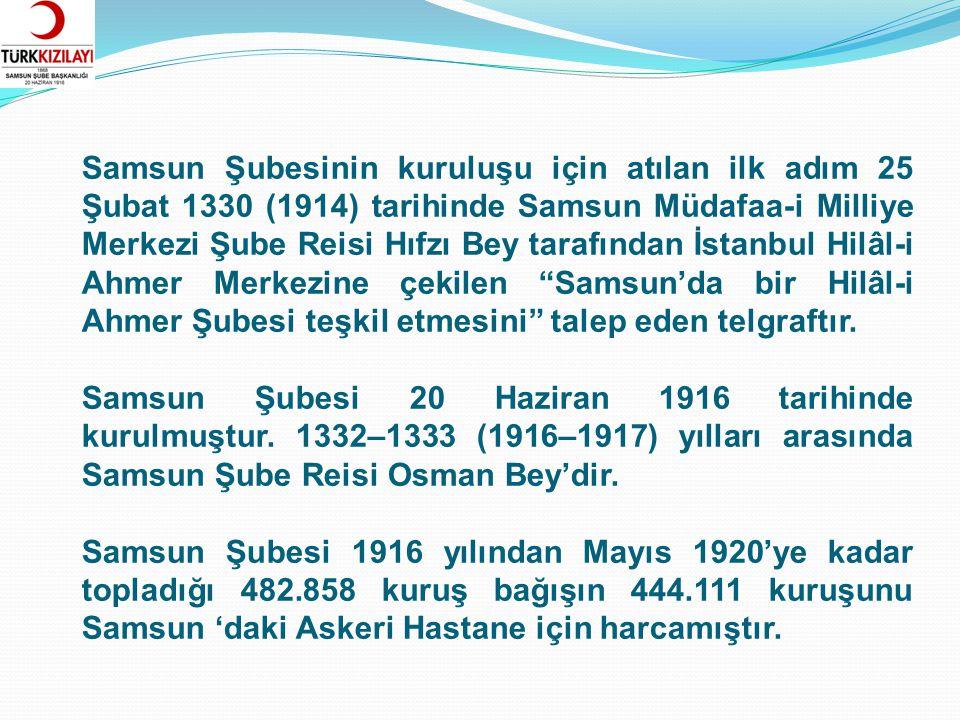 Pontus'lu Rumların baskıları nedeniyle Akalan Köyünden Samsun'a kaçmak zorunda kalan 400 kadar köylüye Samsun Şubesi tarafından 72.352 kuruş yardımda bulunulmuştur.
