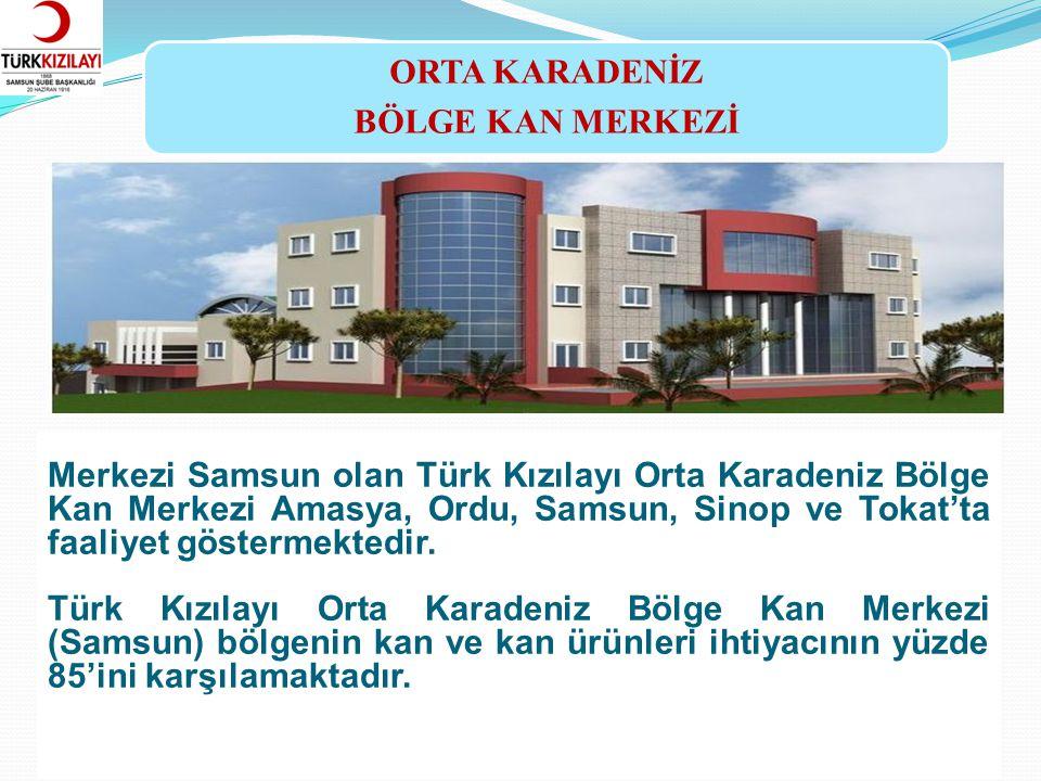 ORTA KARADENİZ BÖLGE KAN MERKEZİ Merkezi Samsun olan Türk Kızılayı Orta Karadeniz Bölge Kan Merkezi Amasya, Ordu, Samsun, Sinop ve Tokat'ta faaliyet g