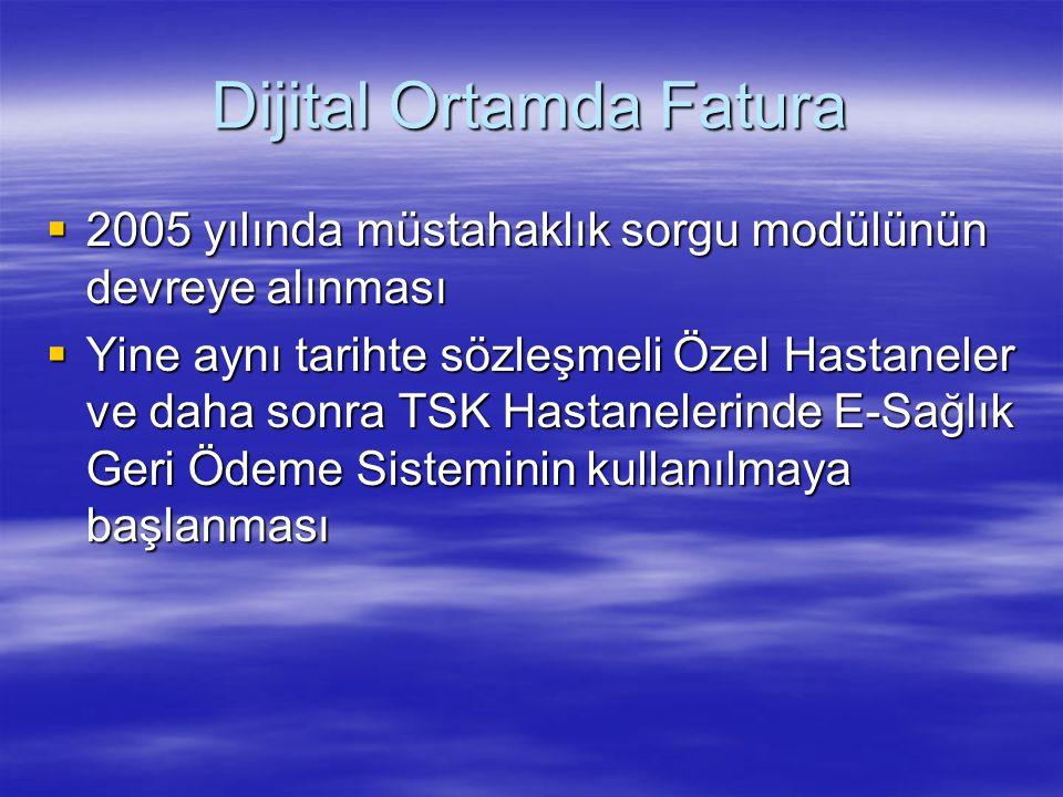 Dijital Ortamda Fatura  2005 yılında müstahaklık sorgu modülünün devreye alınması  Yine aynı tarihte sözleşmeli Özel Hastaneler ve daha sonra TSK Ha
