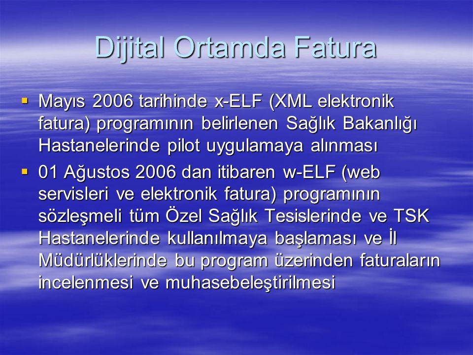 Dijital Ortamda Fatura  Mayıs 2006 tarihinde x-ELF (XML elektronik fatura) programının belirlenen Sağlık Bakanlığı Hastanelerinde pilot uygulamaya al
