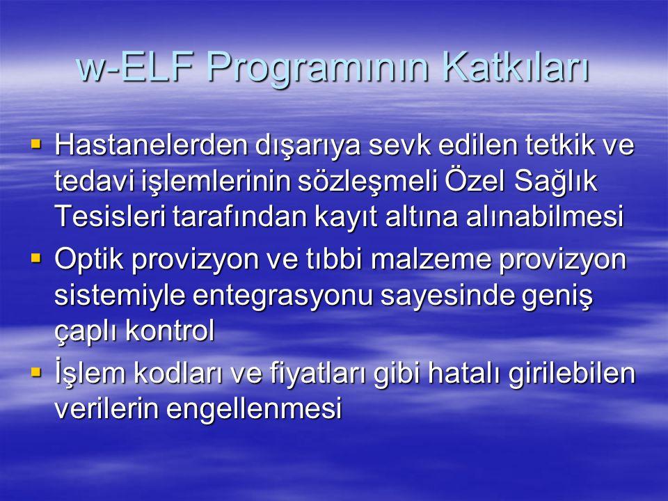w-ELF Programının Katkıları  Hastanelerden dışarıya sevk edilen tetkik ve tedavi işlemlerinin sözleşmeli Özel Sağlık Tesisleri tarafından kayıt altın