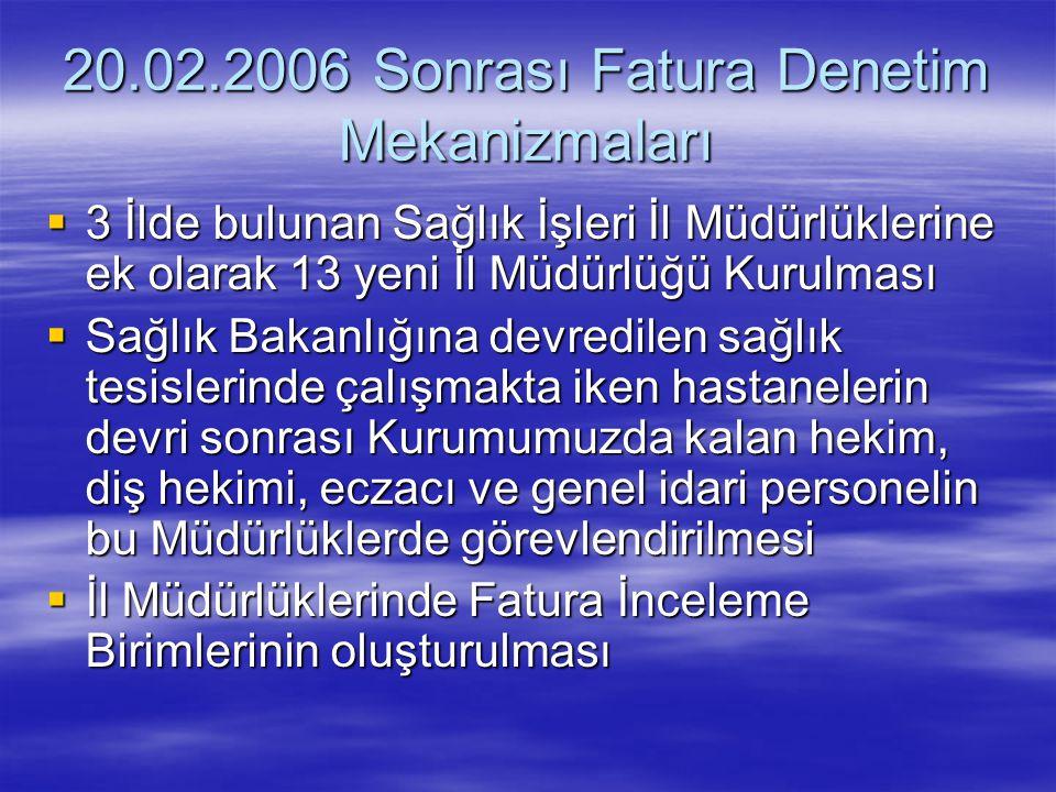 20.02.2006 Sonrası Fatura Denetim Mekanizmaları  3 İlde bulunan Sağlık İşleri İl Müdürlüklerine ek olarak 13 yeni İl Müdürlüğü Kurulması  Sağlık Bak