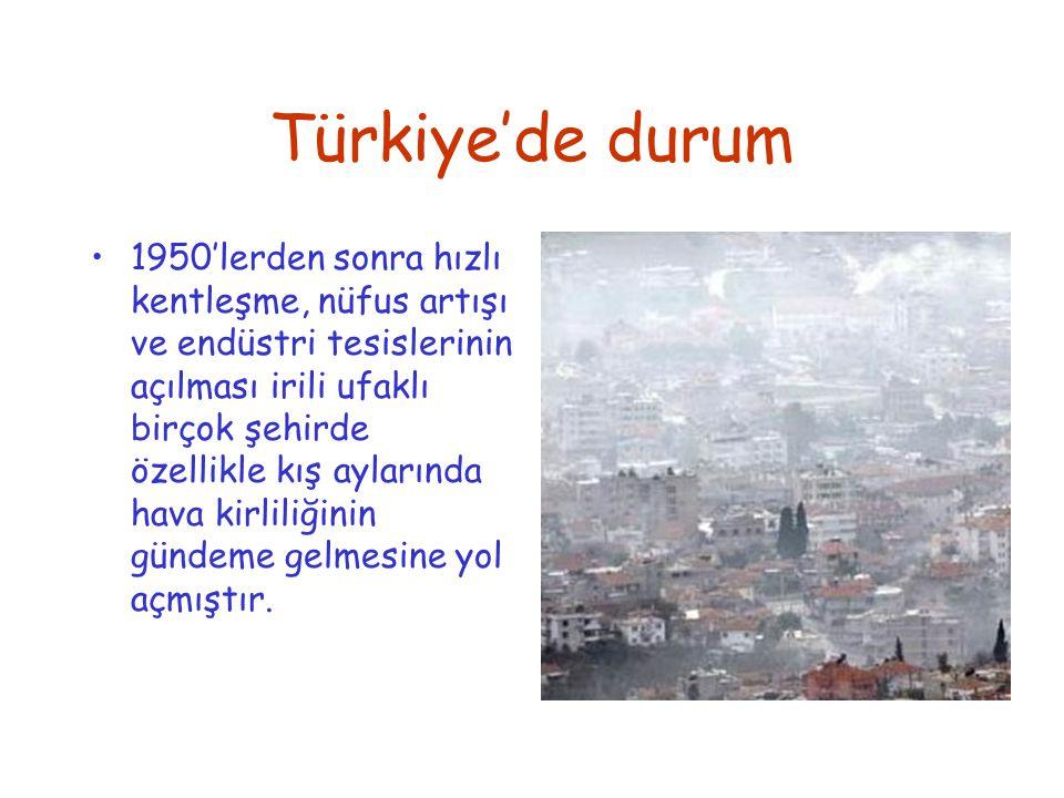 Türkiye'de durum 1950'lerden sonra hızlı kentleşme, nüfus artışı ve endüstri tesislerinin açılması irili ufaklı birçok şehirde özellikle kış aylarında