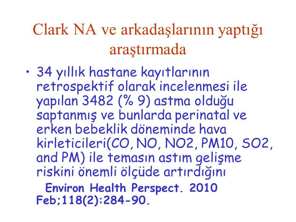 Clark NA ve arkadaşlarının yaptığı araştırmada 34 yıllık hastane kayıtlarının retrospektif olarak incelenmesi ile yapılan 3482 (% 9) astma olduğu sapt