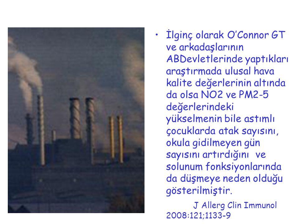 İlginç olarak O'Connor GT ve arkadaşlarının ABDevletlerinde yaptıkları araştırmada ulusal hava kalite değerlerinin altında da olsa NO2 ve PM2-5 değerl