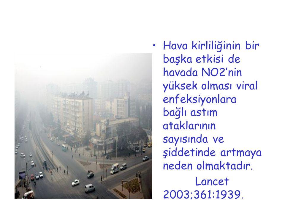 Hava kirliliğinin bir başka etkisi de havada NO2'nin yüksek olması viral enfeksiyonlara bağlı astım ataklarının sayısında ve şiddetinde artmaya neden