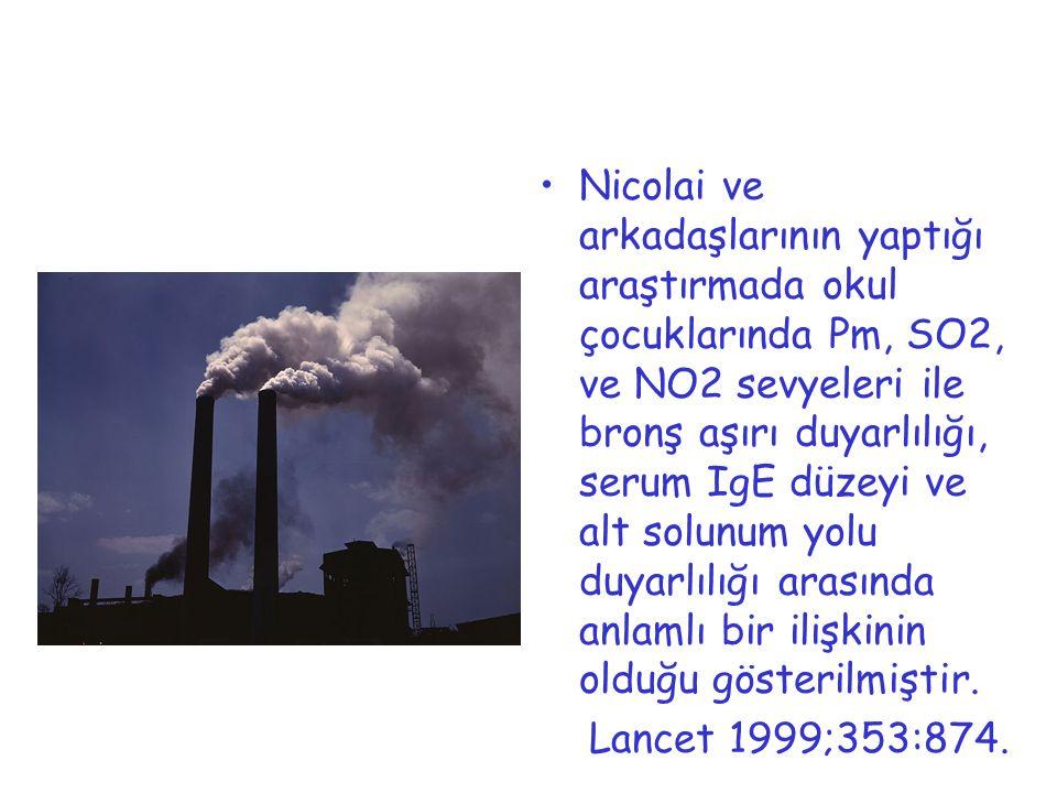 Nicolai ve arkadaşlarının yaptığı araştırmada okul çocuklarında Pm, SO2, ve NO2 sevyeleri ile bronş aşırı duyarlılığı, serum IgE düzeyi ve alt solunum