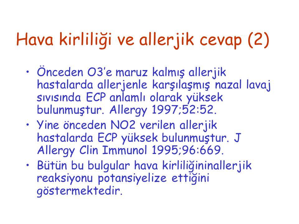 Hava kirliliği ve allerjik cevap (2) Önceden O3'e maruz kalmış allerjik hastalarda allerjenle karşılaşmış nazal lavaj sıvısında ECP anlamlı olarak yük