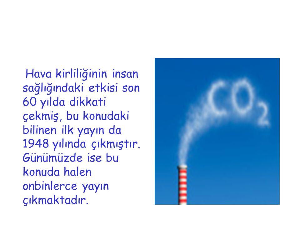 Hava kirliliğinin insan sağlığındaki etkisi son 60 yılda dikkati çekmiş, bu konudaki bilinen ilk yayın da 1948 yılında çıkmıştır. Günümüzde ise bu kon