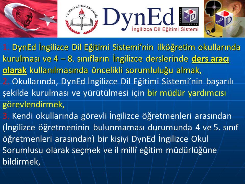 DynEd İngilizce Dil Eğitimi Sistemi'nin ilköğretim okullarında kurulması ve 4 – 8.