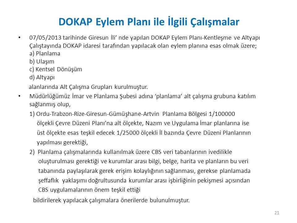 DOKAP Eylem Planı ile İlgili Çalışmalar 07/05/2013 tarihinde Giresun İli' nde yapılan DOKAP Eylem Planı-Kentleşme ve Altyapı Çalıştayında DOKAP idares