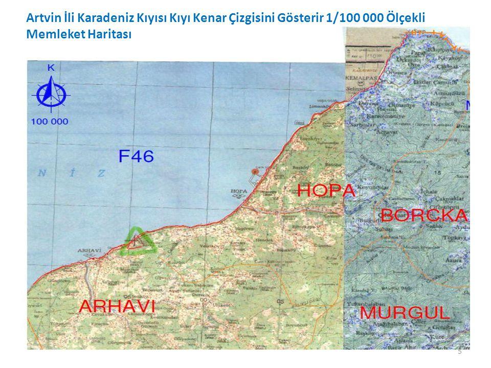 5 Artvin İli Karadeniz Kıyısı Kıyı Kenar Çizgisini Gösterir 1/100 000 Ölçekli Memleket Haritası