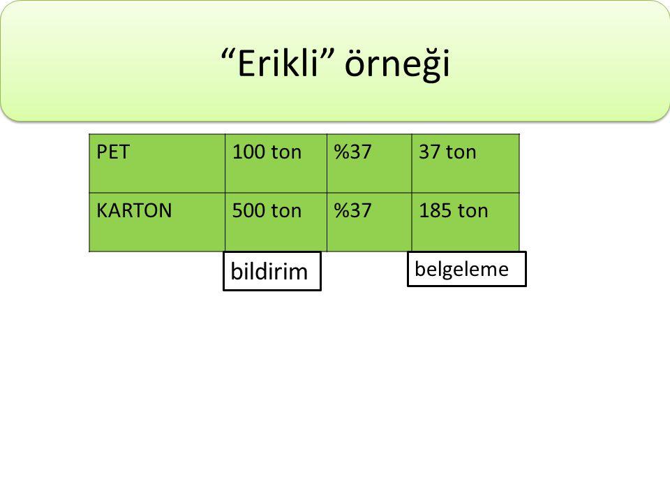 """""""Erikli"""" örneği PET100 ton%3737 ton KARTON500 ton%37185 ton bildirim belgeleme"""
