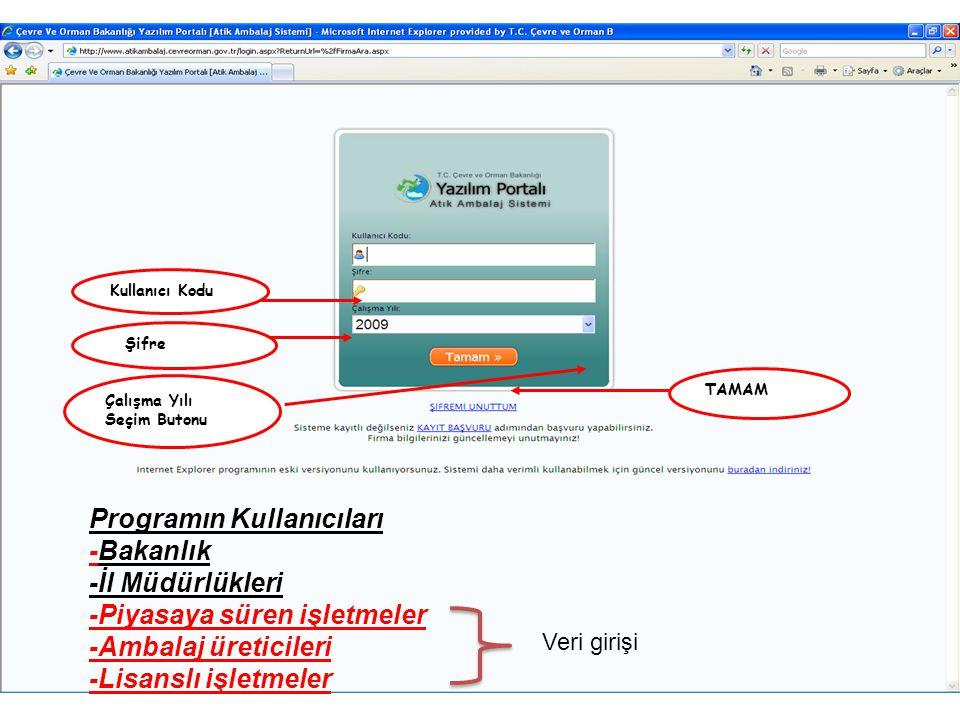 Çalışma Yılı Seçim Butonu Şifre Kullanıcı Kodu TAMAM Programın Kullanıcıları -Bakanlık -İl Müdürlükleri -Piyasaya süren işletmeler -Ambalaj üreticiler
