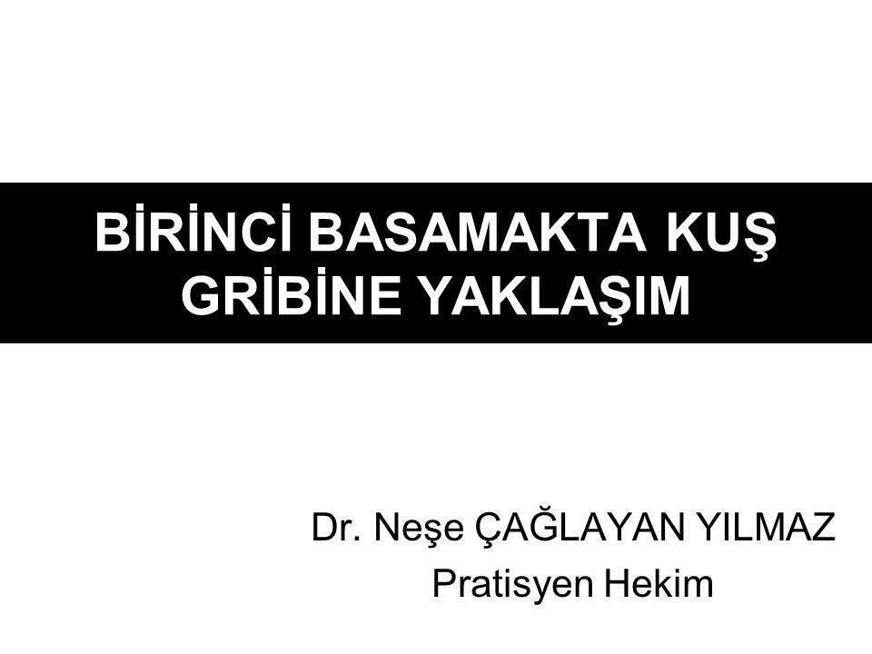 BİRİNCİ BASAMAKTA KUŞ GRİBİNE YAKLAŞIM Dr. Neşe ÇAĞLAYAN YILMAZ Pratisyen Hekim