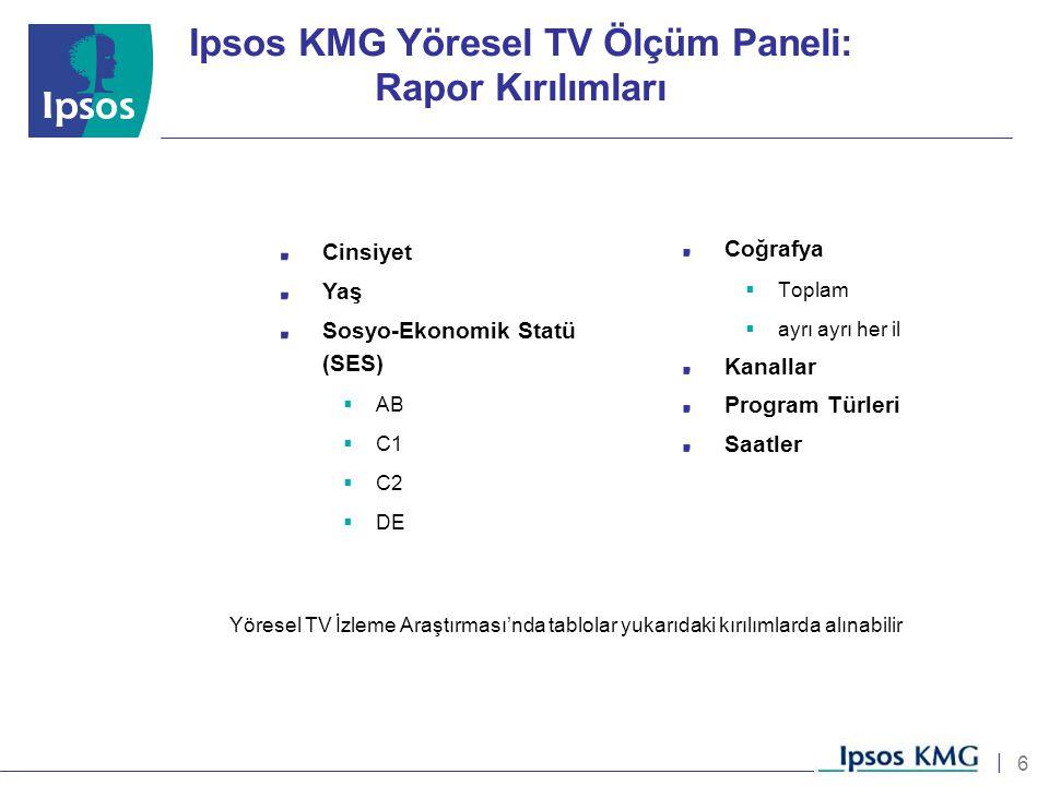6 | Coğrafya  Toplam  ayrı ayrı her il Kanallar Program Türleri Saatler Yöresel TV İzleme Araştırması'nda tablolar yukarıdaki kırılımlarda alınabili