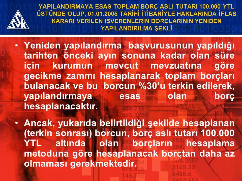 YAPILANDIRMAYA ESAS TOPLAM BORÇ ASLI TUTARI 100.000 YTL ÜSTÜNDE OLUP, 01.01.2005 TARİHİ İTİBARİYLE HAKLARINDA İFLAS KARARI VERİLEN İŞVERENLERİN BORÇLA
