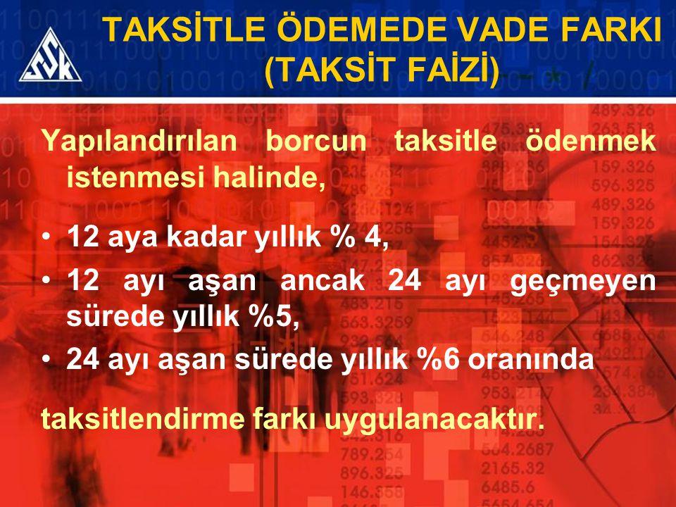 TAKSİTLE ÖDEMEDE VADE FARKI (TAKSİT FAİZİ) Yapılandırılan borcun taksitle ödenmek istenmesi halinde, 12 aya kadar yıllık % 4, 12 ayı aşan ancak 24 ayı