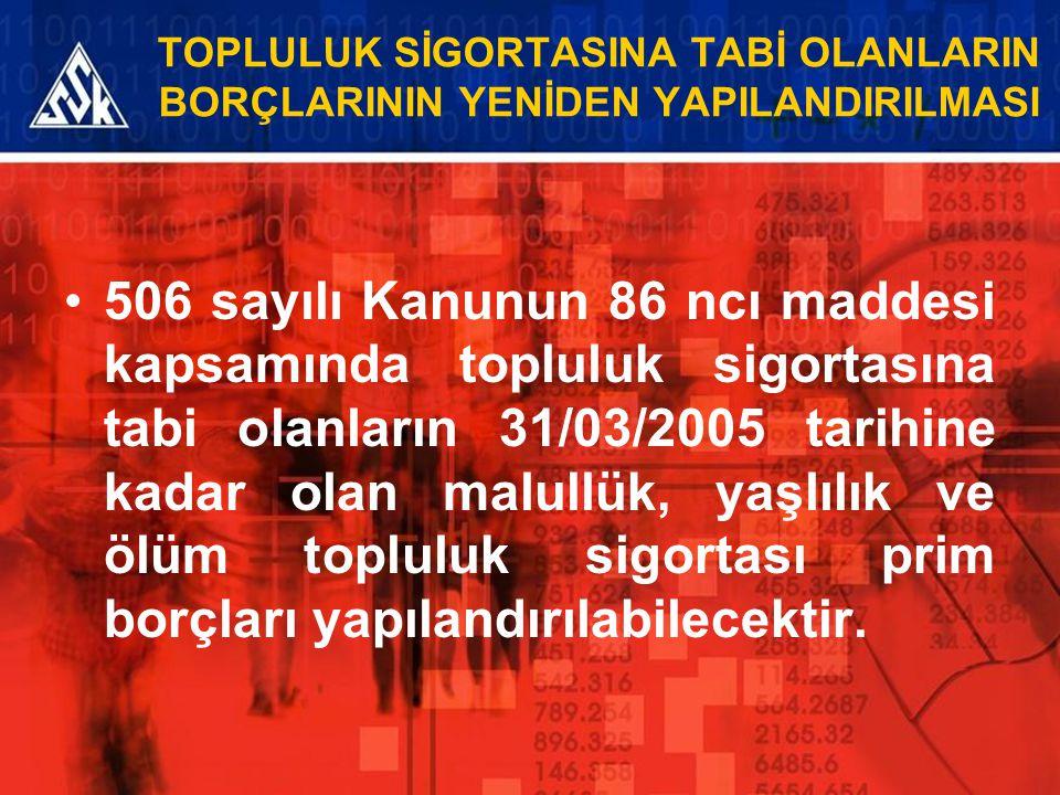 TOPLULUK SİGORTASINA TABİ OLANLARIN BORÇLARININ YENİDEN YAPILANDIRILMASI 506 sayılı Kanunun 86 ncı maddesi kapsamında topluluk sigortasına tabi olanla