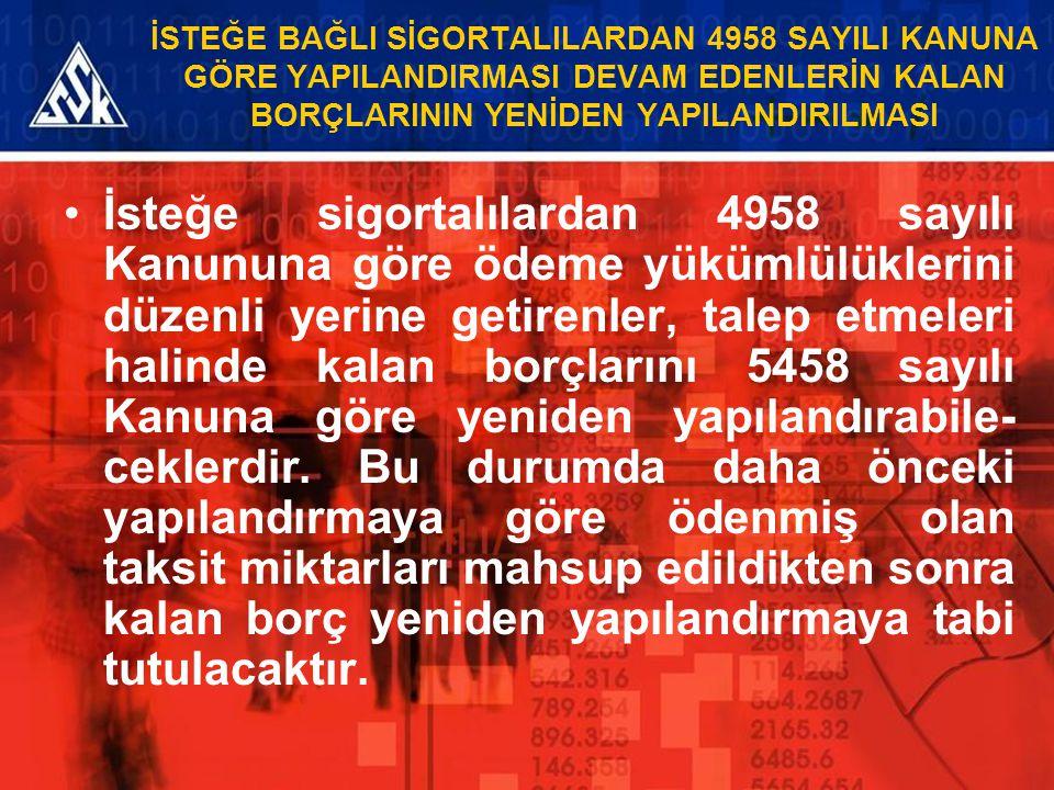 İSTEĞE BAĞLI SİGORTALILARDAN 4958 SAYILI KANUNA GÖRE YAPILANDIRMASI DEVAM EDENLERİN KALAN BORÇLARININ YENİDEN YAPILANDIRILMASI İsteğe sigortalılardan