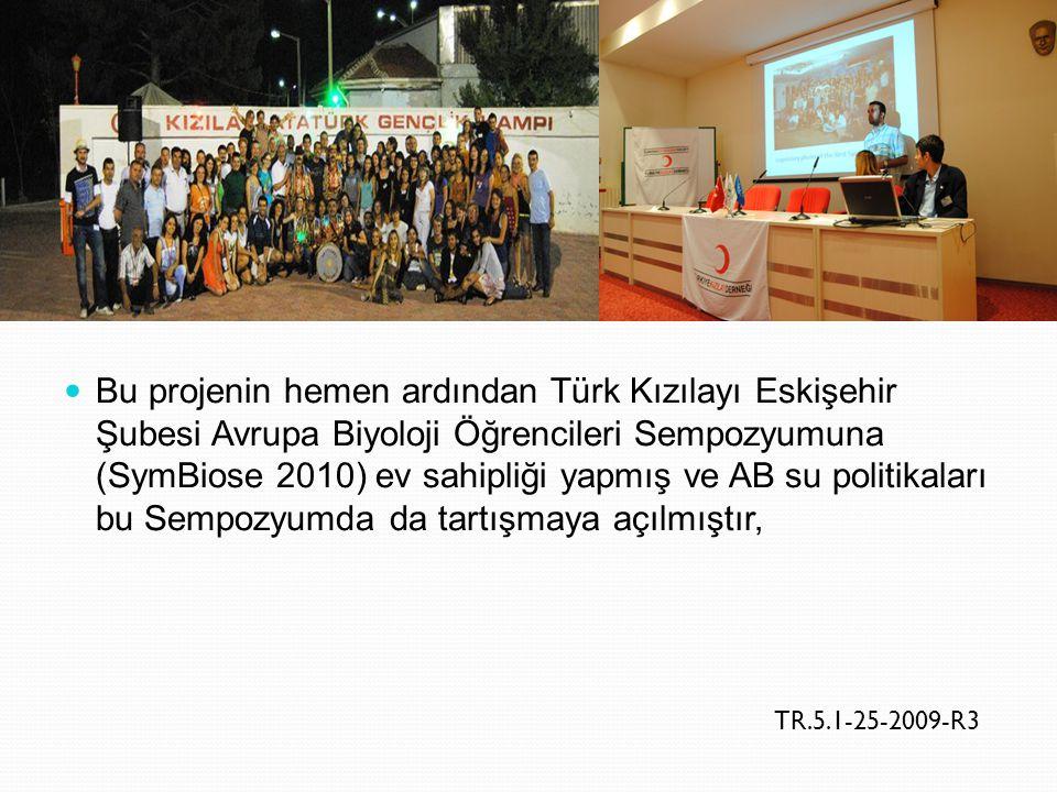 Bu projenin hemen ardından Türk Kızılayı Eskişehir Şubesi Avrupa Biyoloji Öğrencileri Sempozyumuna (SymBiose 2010) ev sahipliği yapmış ve AB su politi