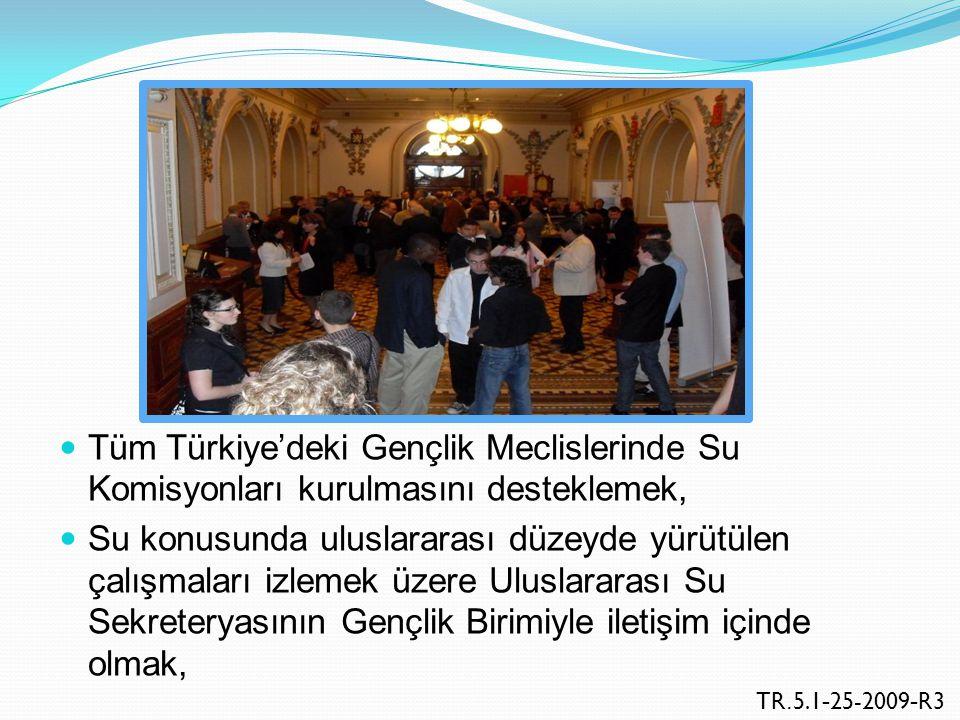 Tüm Türkiye'deki Gençlik Meclislerinde Su Komisyonları kurulmasını desteklemek, Su konusunda uluslararası düzeyde yürütülen çalışmaları izlemek üzere