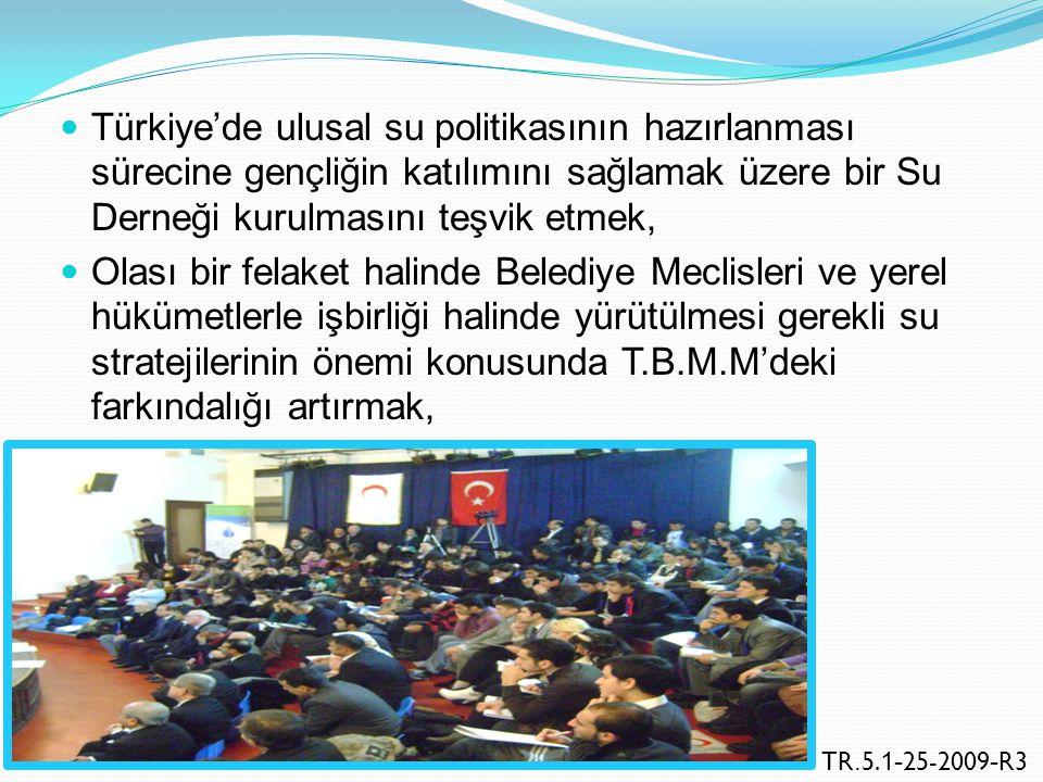 Türkiye'de ulusal su politikasının hazırlanması sürecine gençliğin katılımını sağlamak üzere bir Su Derneği kurulmasını teşvik etmek, Olası bir felake