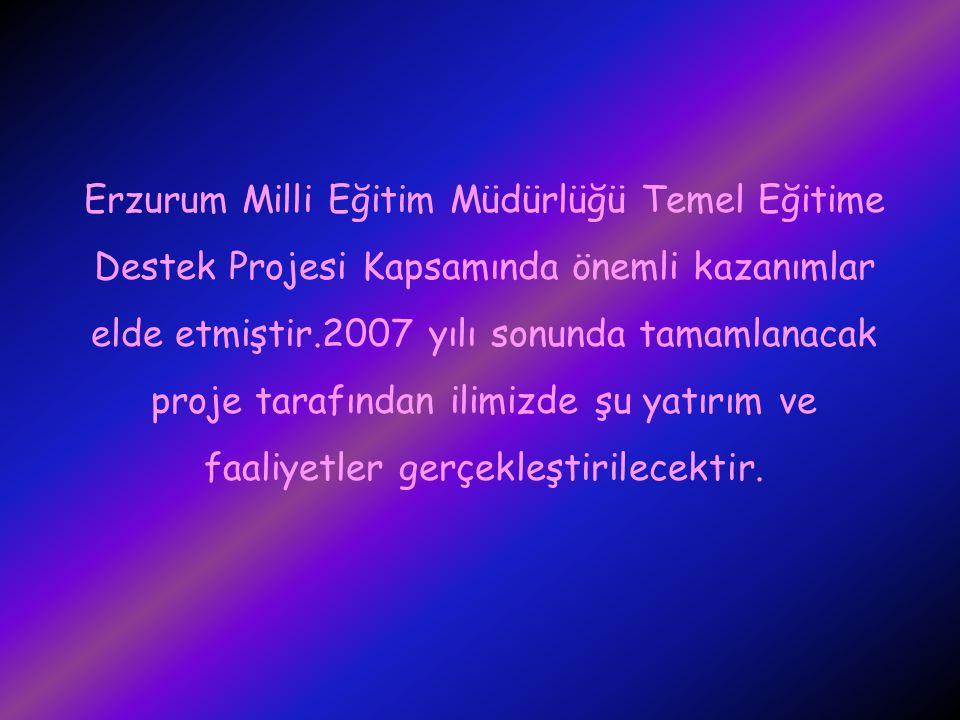 Erzurum Milli Eğitim Müdürlüğü Temel Eğitime Destek Projesi Kapsamında önemli kazanımlar elde etmiştir.2007 yılı sonunda tamamlanacak proje tarafından