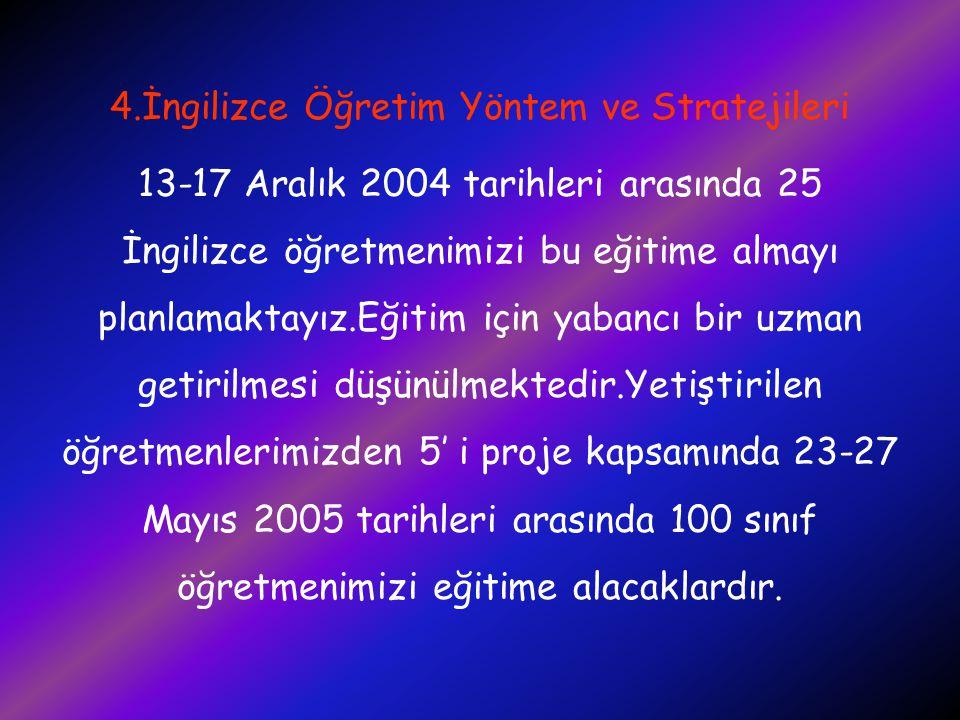 4.İngilizce Öğretim Yöntem ve Stratejileri 13-17 Aralık 2004 tarihleri arasında 25 İngilizce öğretmenimizi bu eğitime almayı planlamaktayız.Eğitim içi