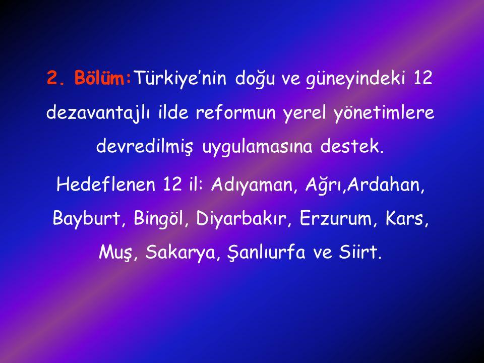 2. Bölüm:Türkiye'nin doğu ve güneyindeki 12 dezavantajlı ilde reformun yerel yönetimlere devredilmiş uygulamasına destek. Hedeflenen 12 il: Adıyaman,