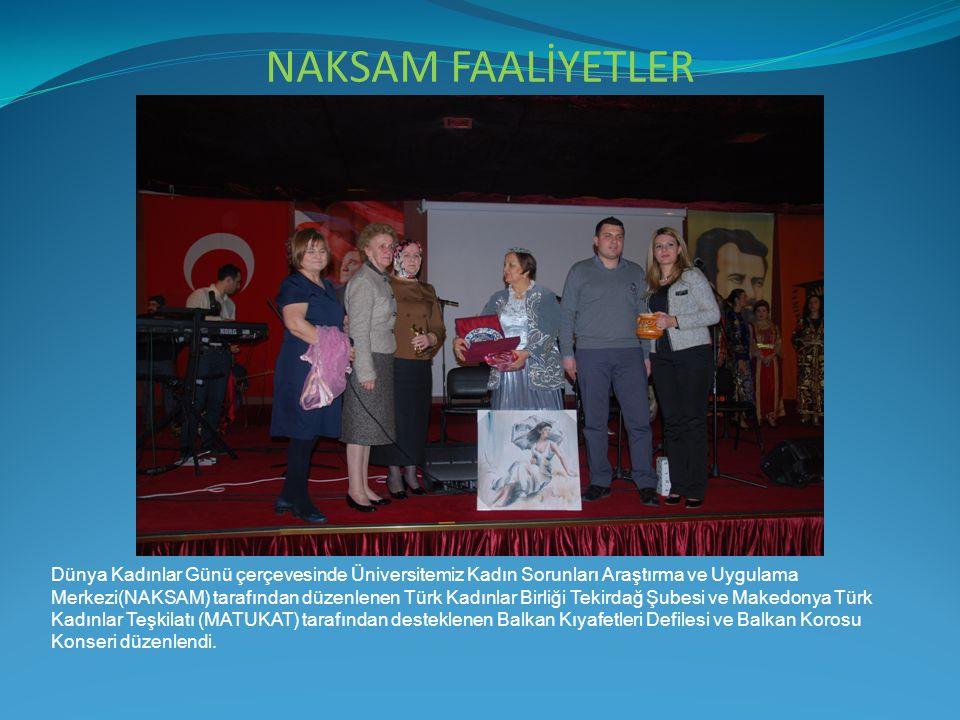 NAKSAM FAALİYETLER Dünya Kadınlar Günü çerçevesinde Üniversitemiz Kadın Sorunları Araştırma ve Uygulama Merkezi(NAKSAM) tarafından düzenlenen Türk Kad