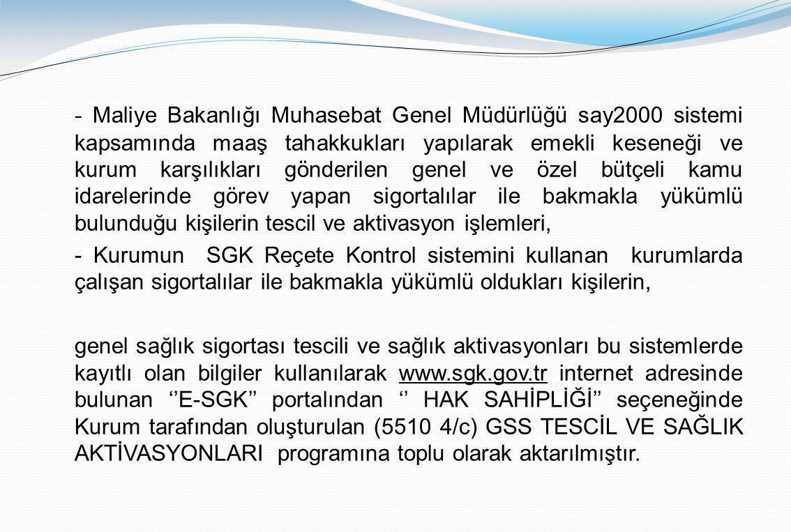 Uygulamayı www.sgk.gov.tr web sayfasında ''e-sgk'' bölümünde bulunan ……………………..programın içinde bulunan (5510 4/c ) GSS TESCİL VE SAĞLIK AKTİVASYON PROGRAMI menüsü üzerinden iştirakçi ve hak sahiplerinin sağlık karnesi ve aktivasyon tescil işlemleri yapılacaktır.www.sgk.gov.tr