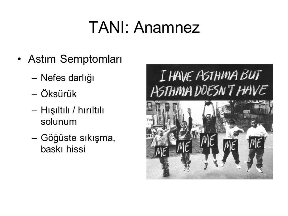 TANI: Anamnez Astım Semptomları –Nefes darlığı –Öksürük –Hışıltılı / hırıltılı solunum –Göğüste sıkışma, baskı hissi