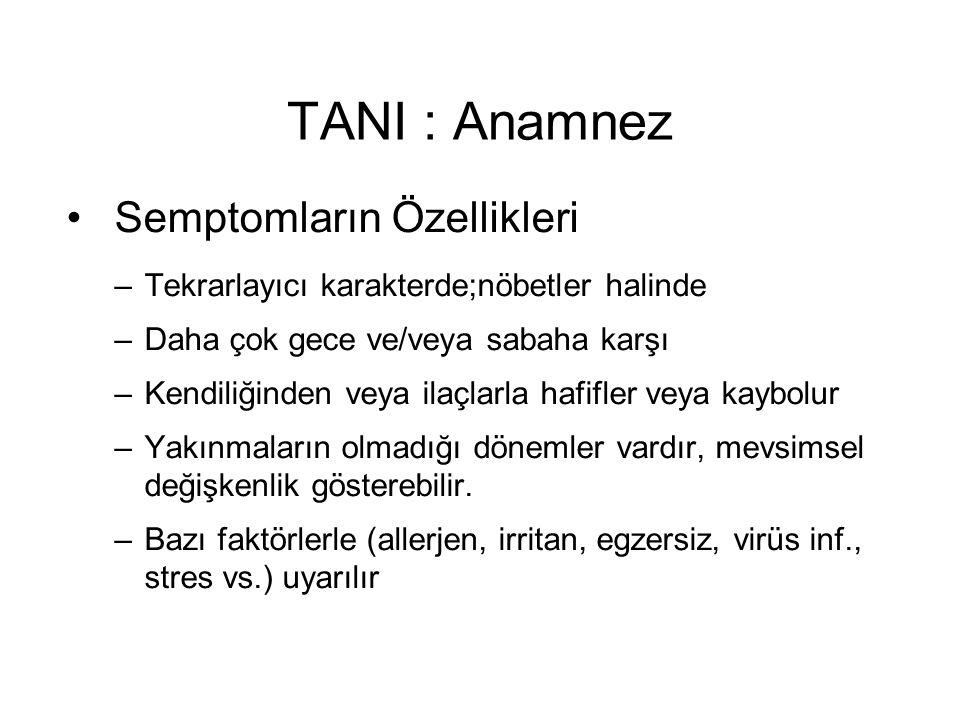 TANI : Anamnez Semptomların Özellikleri –Tekrarlayıcı karakterde;nöbetler halinde –Daha çok gece ve/veya sabaha karşı –Kendiliğinden veya ilaçlarla ha