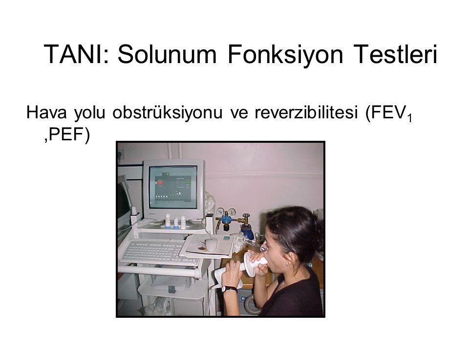 TANI: Solunum Fonksiyon Testleri Hava yolu obstrüksiyonu ve reverzibilitesi (FEV 1,PEF)