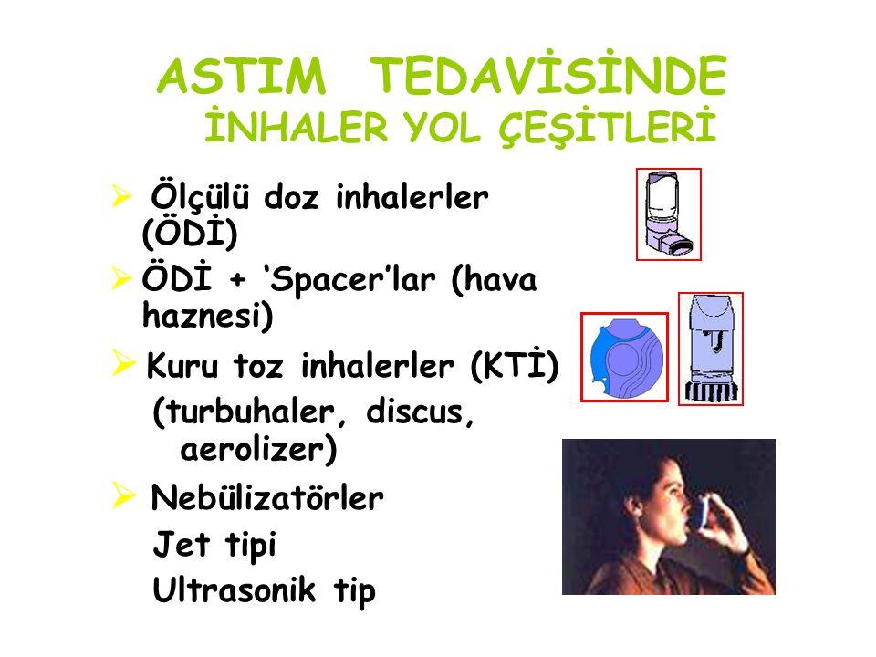 ASTIM TEDAVİSİNDE İNHALER YOL ÇEŞİTLERİ  Ölçülü doz inhalerler (ÖDİ)  ÖDİ + 'Spacer'lar (hava haznesi)  Kuru toz inhalerler (KTİ) (turbuhaler, disc