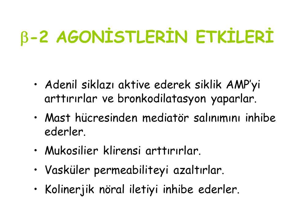 -2 AGONİSTLERİN ETKİLERİ Adenil siklazı aktive ederek siklik AMP'yi arttırırlar ve bronkodilatasyon yaparlar. Mast hücresinden mediatör salınımını i