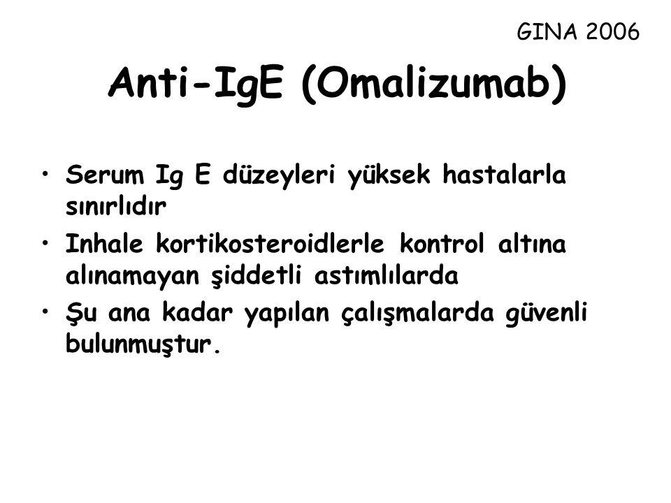 Anti-IgE (Omalizumab) Serum Ig E düzeyleri yüksek hastalarla sınırlıdır Inhale kortikosteroidlerle kontrol altına alınamayan şiddetli astımlılarda Şu