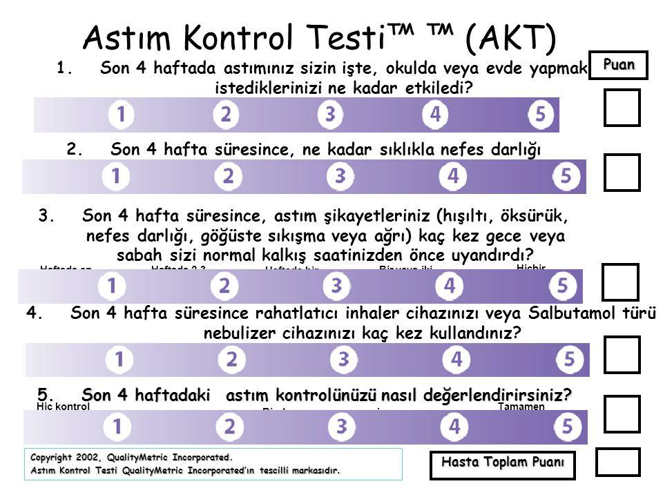 Astım Kontrol Testi™ ™ (AKT) 1.Son 4 haftada astımınız sizin işte, okulda veya evde yapmak istediklerinizi ne kadar etkiledi? 2.Son 4 hafta süresince,