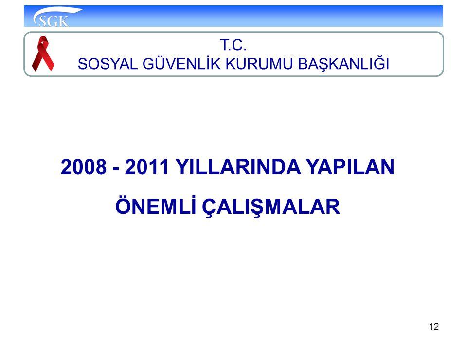 12 T.C. SOSYAL GÜVENLİK KURUMU BAŞKANLIĞI 2008 - 2011 YILLARINDA YAPILAN ÖNEMLİ ÇALIŞMALAR