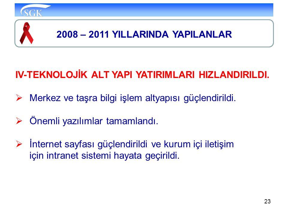 23 2008 – 2011 YILLARINDA YAPILANLAR IV-TEKNOLOJİK ALT YAPI YATIRIMLARI HIZLANDIRILDI.  Merkez ve taşra bilgi işlem altyapısı güçlendirildi.  Önemli