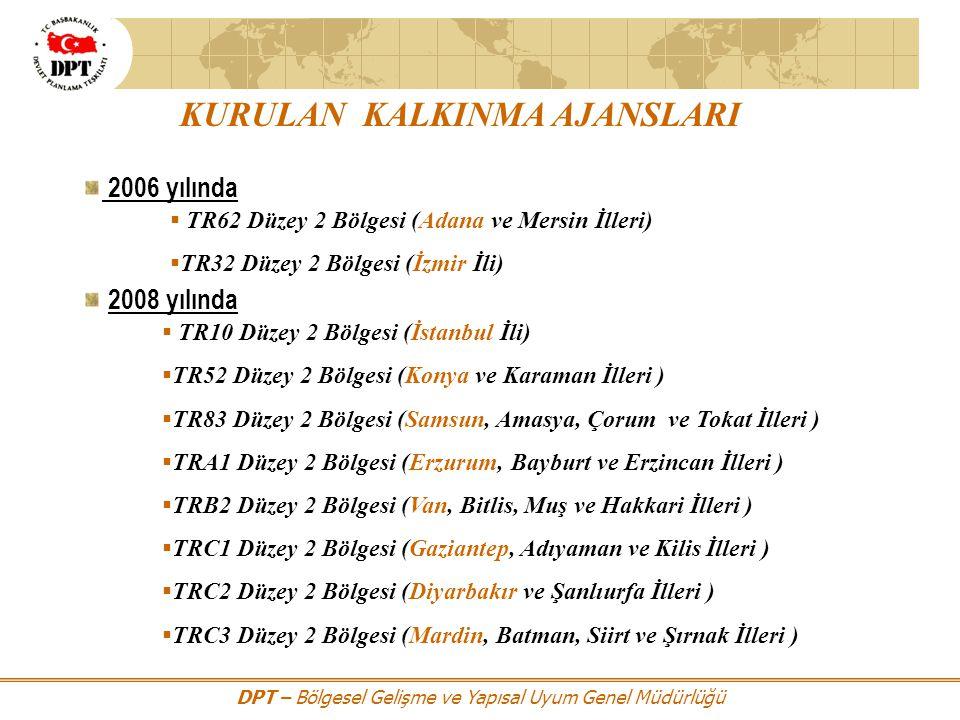 DPT – Bölgesel Gelişme ve Yapısal Uyum Genel Müdürlüğü KURULAN KALKINMA AJANSLARI 2006 yılında  TR62 Düzey 2 Bölgesi (Adana ve Mersin İlleri)  TR32