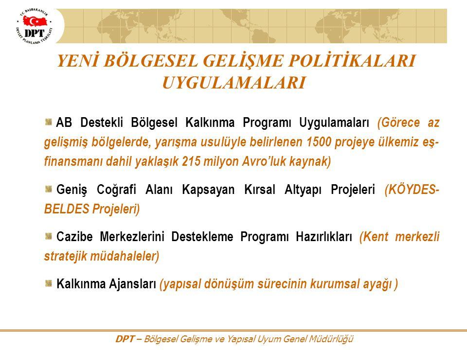 DPT – Bölgesel Gelişme ve Yapısal Uyum Genel Müdürlüğü YENİ BÖLGESEL GELİŞME POLİTİKALARI UYGULAMALARI AB Destekli Bölgesel Kalkınma Programı Uygulama